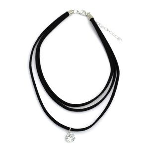 Fashion three-chain circle crystal choker